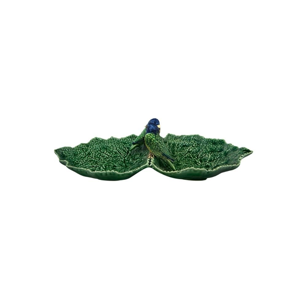 Bordallo Pinheiro Double Leaf 34 with Blue Birds