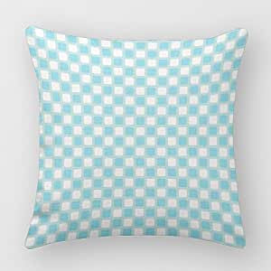 Mascow Christmas Blue Home Pillow Cover Checkers Square Decorative Pillow Cover