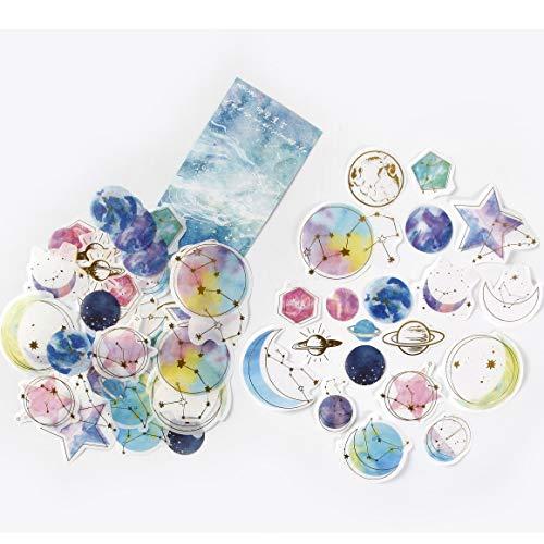 DIY Decorative Sticker, Last Night Stars Series Washi Sticker for Diary Album Notebook Scrapbook Lifelog Cute Stationery Sticker, Pack of 60pc(#5)