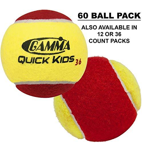 Gamma Sports Kids Training (Transition) Balls, Yellow/Red, Quick Kids 36, 60-Pack