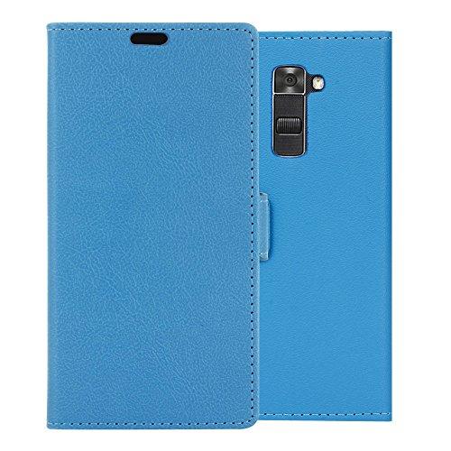 Funda LG K8 ,Aomo LG K8 Funda Piel [Protector de Pantalla] [Estilo Libro][ Ranuras para Tarjetas][Soporte Plegable] Funda Cuero para LG K8 2016 (5 pulgadas),Color Negro Azul