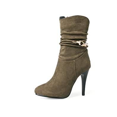 YE Botte Mi-Mollet Cuir Ankle Boots Bottine a Talon Haut Aiguille Femme  Winter Shoes 4991ef3a7cb8
