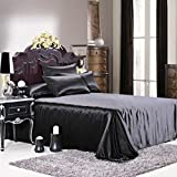 Luxuer Silk Flat Sheet/ Blanket 1-Piece Machine Washable Handmade 100% Pure Mulberry Silk Extra Durable for All Seasons King Size, Black