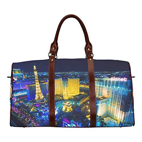 Paris Las Vegas Hotel Casino - Travel Duffel Bag Las Vegas Avenue Nevada Usa Night Waterproof Weekender Bag Overnight Carryon Hand Bag Women Ladies Tote Bag With Microfiber Leather Luggage Bag