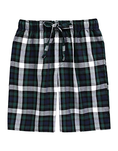 TINFL Men's Plaid Check Cotton Lounge Sleep Shorts MSP-SB005-Green XXL