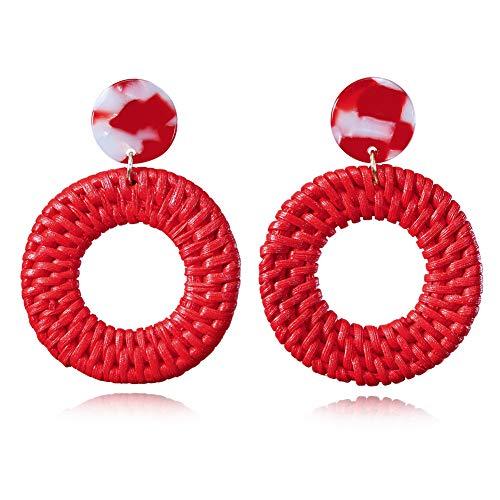 Red Statement Woven Drop Dangle Earrings Round Circle Hoop Earrings Geometric for Women - Earrings Round Floral