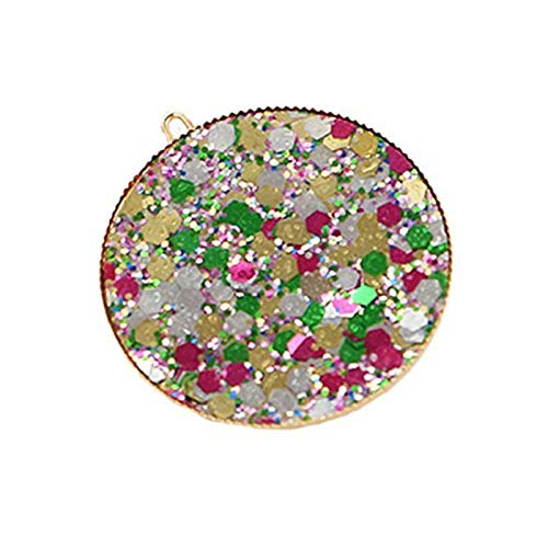 Round Circle Hair Clips Sweet Girls Rainbow Colorful Glitter Sequins HHairpins (Color - 1)