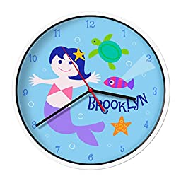 Olive Kids Personalized Mermaids (Light Skin) Clock with White Case