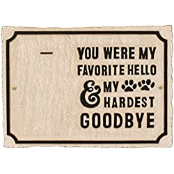 Whitehall My Hardest Goodbye Pet Memorial Photo Wall Sign - Keepsake Remembrance Plaque with Paw Prints and Picture Clip - Limestone