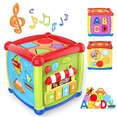 Baby Activity Cube Shape Sorter - 6 in 1 Musical Sort & Discovery Ultimate Alphabe Activity Cube Play Centre Early Educational Baby Toys 12 18 Months Toys for 1 2 3 Year Old Boys & Girls
