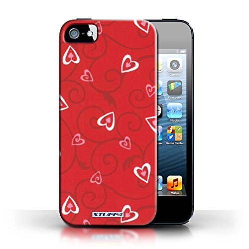 Etui / Coque pour Apple iPhone 5/5S / Rouge/Rose conception / Collection de Coeur Vigne Motif