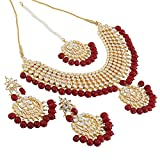Shining Diva Fashion Gold Plated Kundan Pearl Stylish Fancy Party Wear Wedding Necklace Set for Women Traditional Jewellery Set with Earrings for Women & Girls (Red)