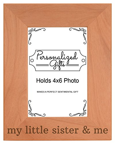 Little Sister Frame - ThisWear Big Sister Gifts My Little Sister Me Birthday Gifts Big Sister Birthday Gifts Natural Wood Engraved 4x6 Portrait Picture Frame Wood
