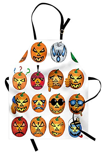 COVASA Halloween Apron, Carved Pumpkin with Emoji Faces Halloween Inspired Humor Hipster Monsters Artwork, Unisex Kitchen Bib Apron with Adjustable Neck for Cooking Baking Gardening, Orange -
