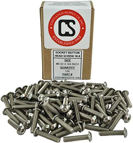 100pcs 8-32x1Stainless Steel Button Head Socket Cap Screw,by Fullerkreg