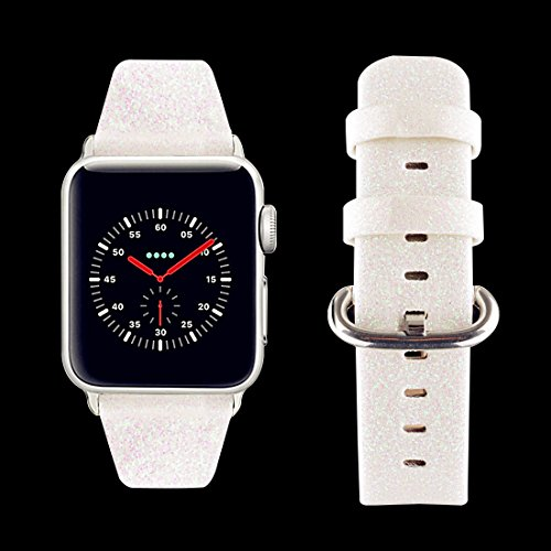 baozai Compatible with Apple Watch Band 38mm 40mm, Smooth Soft Glitter Shiny Leather Band Replacement Bracelets for Apple Watch Series 4 Series 3 Series 2 Series 1(Snow - White)