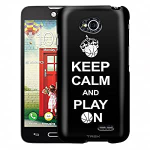 LG Optimus Exceed 2 Case, Slim Fit Snap On Cover by Trek KEEP CALM And Play On - Basketball on Black Case