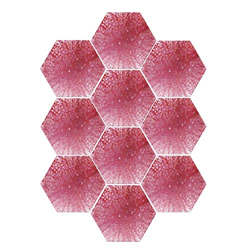 YOLIYANA House Decor Durable Hexagon Ceramic Tile Stickers,Cherry Blossoms Petals on Abstract Sun Rays Springtime in Japan Artwork Print for Living Room Kitchen,9
