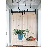 HomeDeco Hardware Rustic 5/6/7.5/8/10 FT Bypass Door Hardware Sliding Steel Track For Double Wooden Doors (5FT Bypass System)