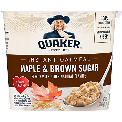 (Quaker Instant Oatmeal Cups, Maple & Brown Sugar, 1.69oz Cup, 12 Ct)