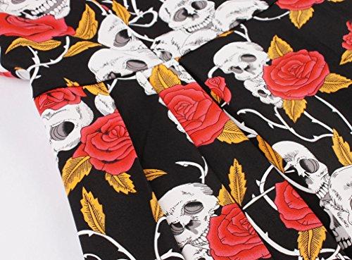 Aecibzo Femmes 1950 Floral Rétro Vintage Robes De Bal De Cocktail De Rockabilly Rouge