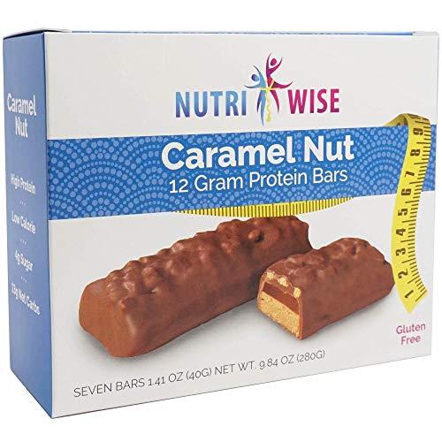 NutriWise - Caramel Nut Diet Bars | Gluten Free, High Protein, Low Cholesterol, Low Sodium, Low Sugar (7/Box)