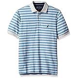 Nautica Men's Standard Classic Short Sleeve Stripe Polo Shirt, Grey Heather, Medium