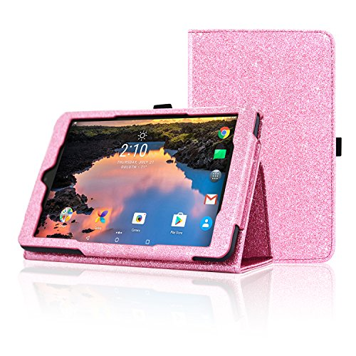 Alcatel A30 8 Inch Tablet Case, ACdream Premium PU Folio Leather Tablet Case for Alcatel A30 8 Inch Tablet (2017 version), Light Pink Star of - 8 Tablet Pink Glitter Case
