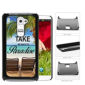 Beach Chairs And Palm Trees Ocean Scenery Hard Plastic Snap On Cell Phone Case LG G2