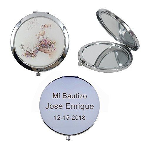 Personalized Compact Mirror Baptism Favor (12 PCS) Recuerdos de Bautizo, Guardian Angel,Christening Favor, Gift for Guest