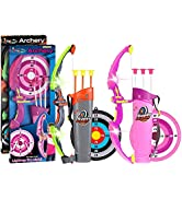 POKONBOY 2 Sets Bow and Arrow for Kids, LED Light Up Archery Sets for Kids Outdoor Hunting Game w...