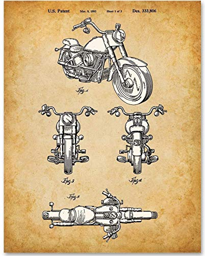 (Harley Davidson Motorcycle - 11x14 Unframed Patent Print - Makes a Great Gift Under $15 for Bikers)