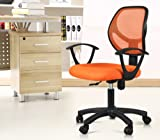 Topeakmart Mid-back Mesh Computer Chair, Comfortable Height Adjustable (Orange)