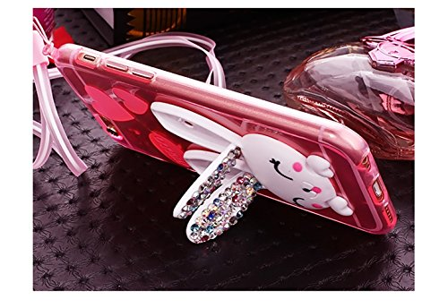 Sunroyal Lovely Ultra Thin Faltbare Cartoon Funny Smile Bunny [Kratzfeste, Scratch-Resistant] Love Glitzer Bling Diamant Rabbit Ear Schutzhülle Transparent Bumper Zurück Zubehör Set Silikon Gel Hülle