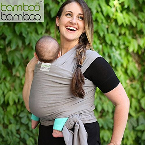 Bamboo Baby Sling Hands Free Carrier and One Size Fits All Wrap with Matching Carry Bag for Newborns Infants and Toddlers to 35 Lbs