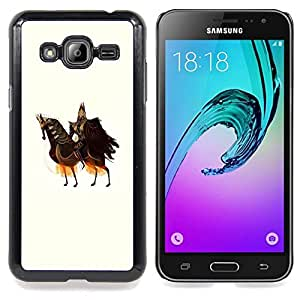 - Horse Knight Warrior Art King Ancient Ruler - - Snap-On Rugged Hard Cover Case Funny HouseFOR Samsung Galaxy J3