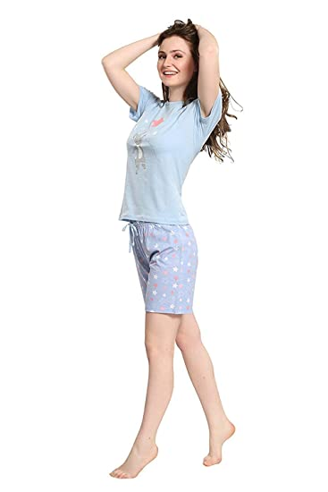 e1717af681 PIU Women's Cotton Printed Half Sleeves Night Dress of Top and Shorts Set  (Light Blue