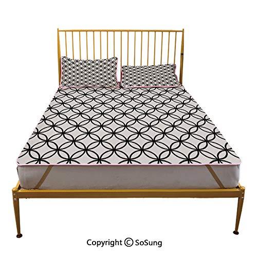 Geometric Circle Decor Creative Queen Size Summer Cool Mat,Minimalist Monochrome Interlace Circle Pattern Modules Pattern Sleeping & Play Cool Mat,Black -