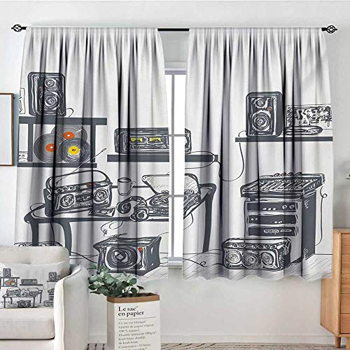 - Mozenou Modern Patterned Drape for Glass Door Recording Studio with Music Devices Turntable Records Speakers Digital Illustration Customized Curtains 55