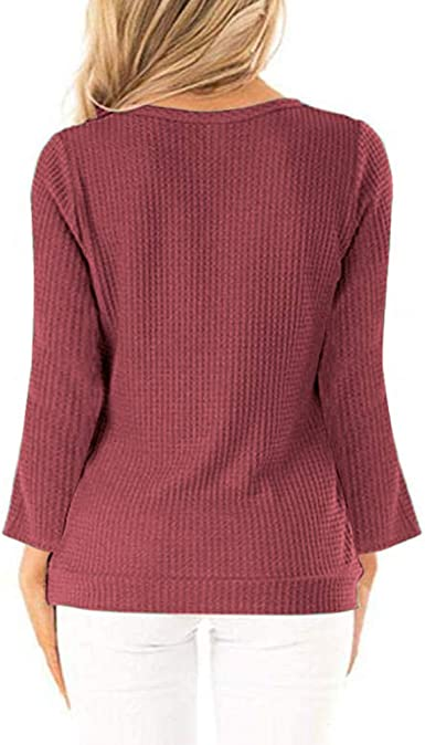 Womens Long Sleeve Waffle Knit Tunic Tops Side Button V Neck Wrap Shirts Blouses