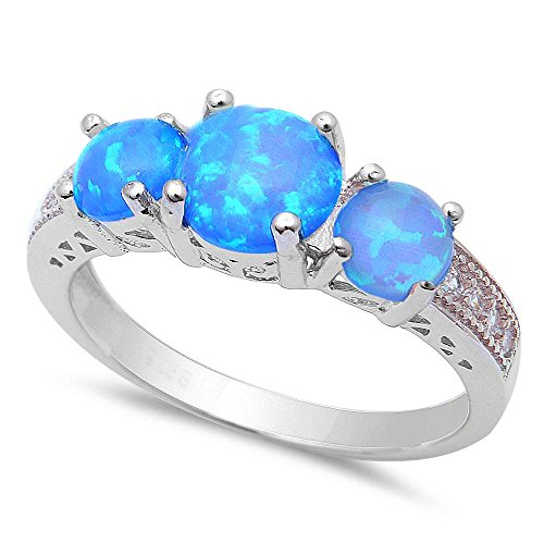 New! 3 Lab Created Blue Fire Opal & Cubic Zirconia .925 Sterling Silver Ring Sizes ()