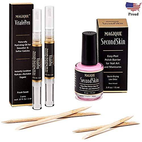 Bundle: Cuticle Oil Pen & Nail Strengthener & Nail Art Liquid Latex Barrier - Simply Peel Off Liquid Tape - Mess Free Mani & Pedi - Magique VitalePen & Magique SecondSkin -