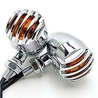 Candance(TM)Matte Chrome Grill Grille Aluminum Bullet Amber Turn Signal Indicator Blinker Light For Harley Sportster Dyna Glide Custom Bobber Chopper Cruiser,Motorcycle,Custom Bike,Cafe Racer, Harley,Honda/Kawasaki,BMW,Yamaha,Suzuki,Ducati,Benelli,Aprilia