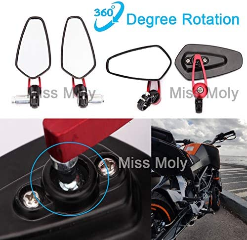 Motorrad Lenkerende Seitenspiegel 7 8 22mm Aluminiumlegierung Lenker Rückspiegel Für Scooter Cruiser Sport Bike Rot Auto