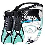 Seavenger Advanced Snorkeling Set with Panoramic Mask, Trek Fins, Dry Top Snorkel & Gear Bag (Mint, Medium)