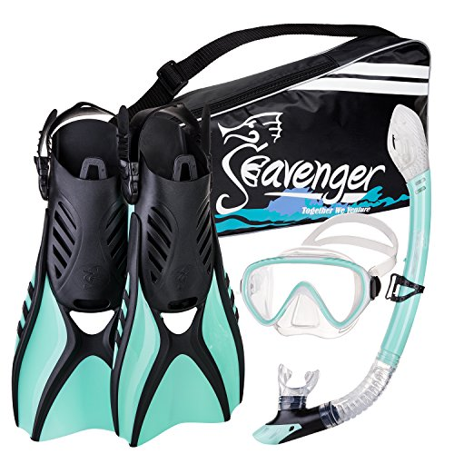 (Seavenger Advanced Snorkeling Set with Panoramic Mask, Trek Fins, Dry Top Snorkel & Gear Bag (Mint, Small))