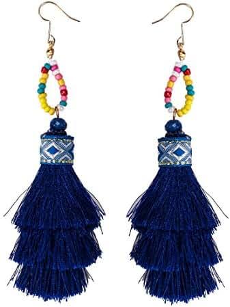3colors Bohemian Handmade Big Long Fringed Tassel Chandelier Drop Dangle Earrings for Women Girls