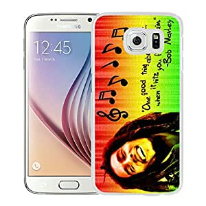 Fashionable And Unique Designed Case With Bob Marley 01 White For Samsung Galaxy S6 Phone Case