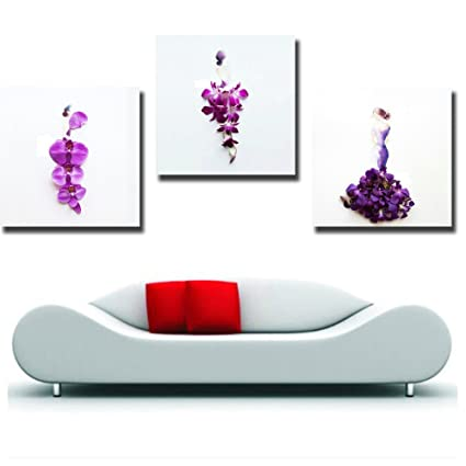 Amazon.com: Gardenia - Abstract Orchids and Girls Canvas Wall Art ...