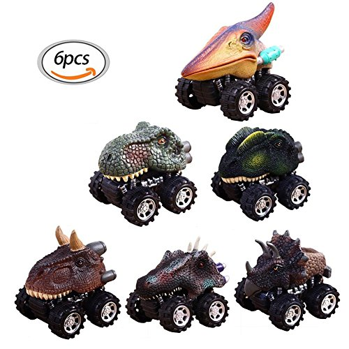 Vehicle, Pull Back Dinosaur Cars, Dinosaur Cars Toys with Big Tire Wheel Wheel Vehicles Playset Dinosaur Model for Children's Birthday Christmas Gift Toy (6 Pcs) ()